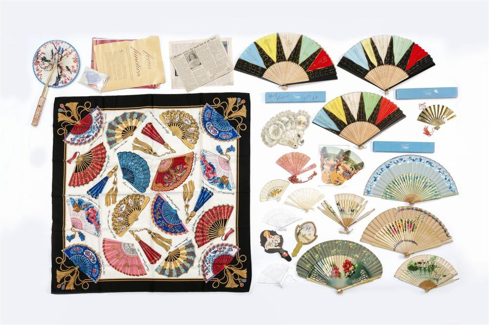 """APPROX. 25 FANS AND FAN-RELATED ITEMS 1) Victorian pressed paper brise fan """"My Heart's Gift"""", with raised decoration of forget-me-no.."""