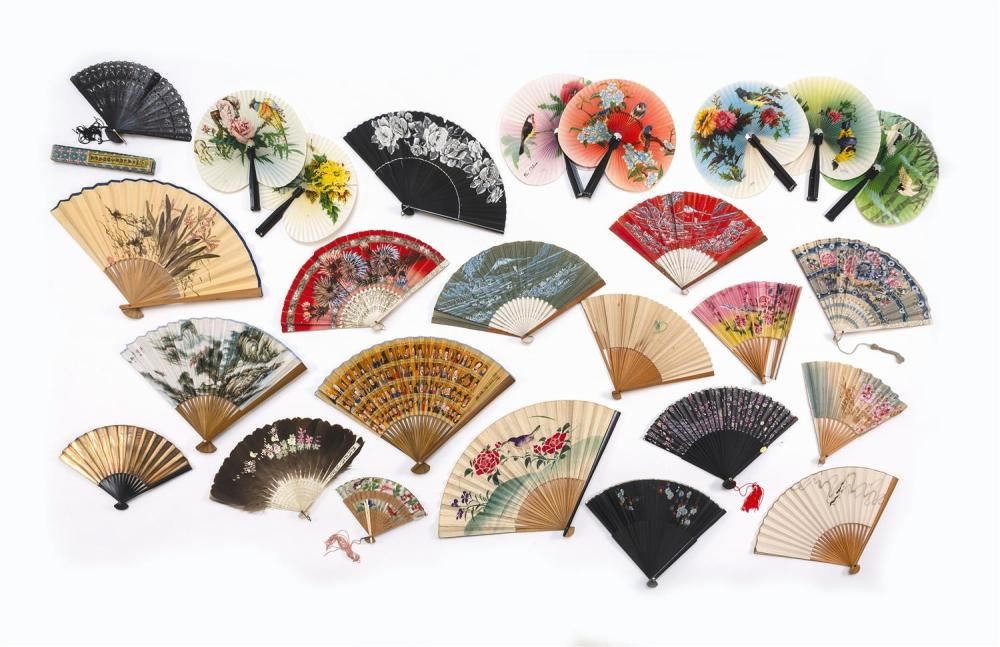 "TWENTY-SIX ASIAN FANS 1-7) Seven Chinese metal and paper cockade fans. Lengths closed 5.5"" closed. 8) Chinese black wood and net fan..."