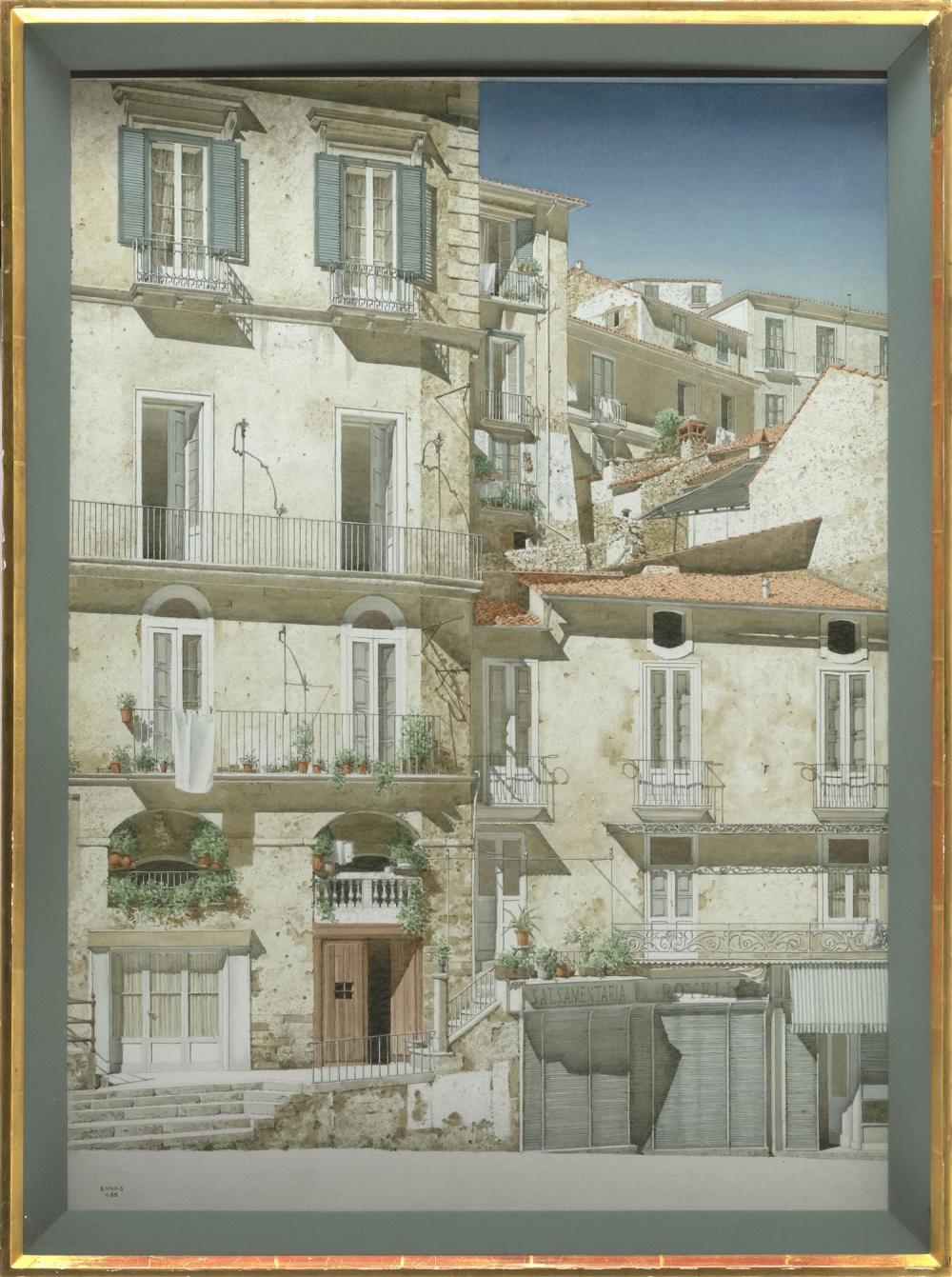 "ROBERT BANKS, United Kingdom, b. 1911, ""Corso Telesio, Cosenza""., Watercolor and gouache on paper, 26"" x 19"" sight. Framed 30"" x 22""."
