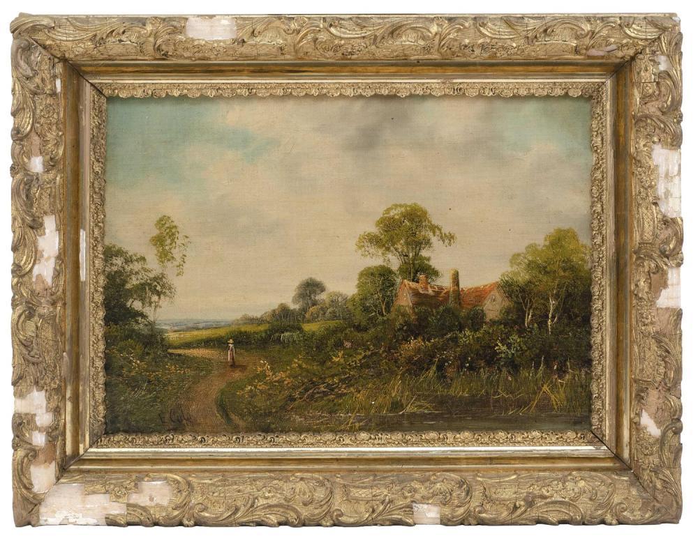"EDWIN COLE, United Kingdom, 19th Century, A figure on a county path., Oil on board, 12"" x 16"". Framed 16"" x 20""."