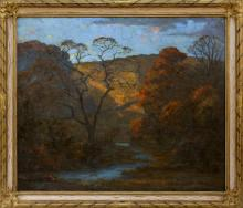 """GEORGE VICTOR GRINNELL, Connecticut, 1878-1946, """"Autumn Glory""""., Oil on canvas, 29"""" x 35"""". Framed 36"""" x 41""""."""