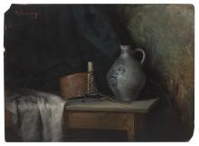 """ROBERT SCHADE, Wisconsin, 1861-1912, Tabletop still life with candle, copper pot, and a crock., Oil on board, 9"""" x 12"""". Unframed."""