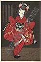 KAWANO KAORU Depicting a young girl in a red kimono.