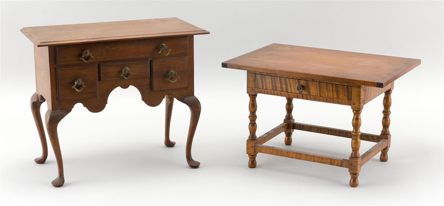 TWO MINIATURE REPLICAS OF 18TH CENTURY AMERICAN FURNITURE 1) Pine and tiger maple tavern table made by Ralph Wakefield. Signed on bo...