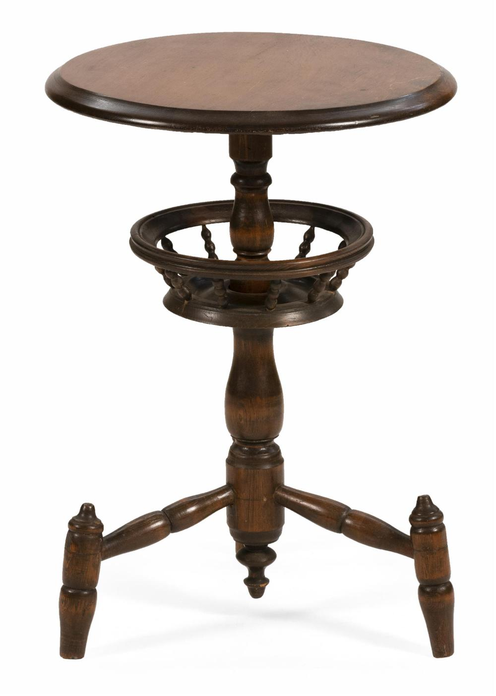 18TH CENTURY-STYLE TABLE In hardwood and pine. Molded-edge top. Pedestal supports a medial sewing basket and is raised on extended t...