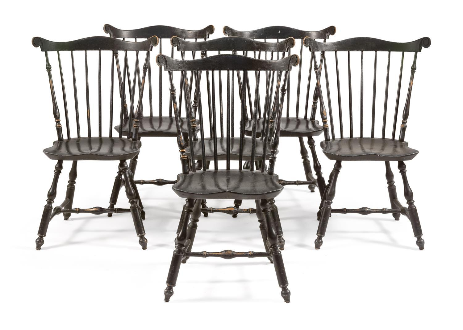 """SIX CONTEMPORARY WINDSOR FAN-BACK SIDE CHAIRS Painted green. Carved rabbit ears. Turned legs. Underside of seats stamped """"RDL"""". Back..."""