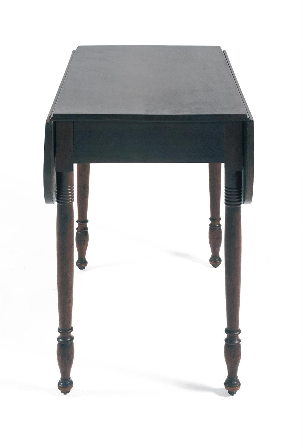 SHERATON PEMBROKE TABLE In cherry. Single drawer at one end of apron. Simple turned legs. Height 29