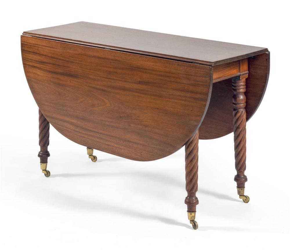 """SHERATON DROP-LEAF TABLE In mahogany, with demilune drop leaves and bold rope-turned legs fitted with brass casters. Height 28.75""""...."""