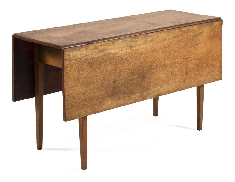 """HEPPLEWHITE DROP-LEAF TABLE In mahogany, with tapered legs. Height 28"""". Length 58"""". Width 17"""" plus two 15"""" drop leaves."""