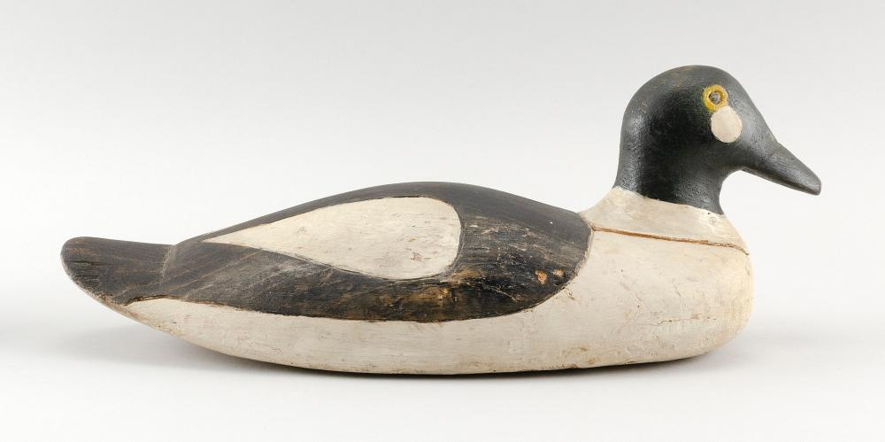 """LYFORD COOMBS GOLDENEYE DRAKE DECOY Carved and painted eyes. Length 16""""."""