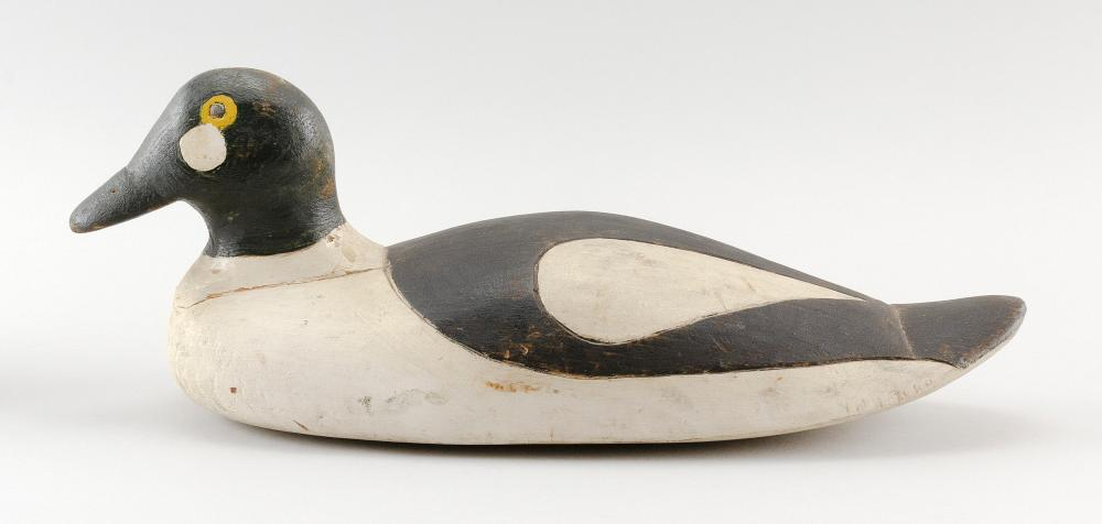 LYFORD COOMBS GOLDENEYE DRAKE DECOY Carved and painted eyes. Length 16