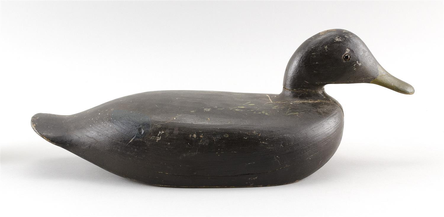 """WILLIE ROSS BLACK DUCK DECOY Inletted head. Glass eyes. Length 17""""."""