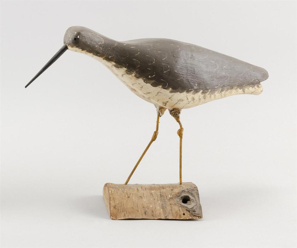 "ALFRED GARDNER YELLOWLEGS CARVING Shoe button eyes. Mounted on a birch base. Alfred Gardner stamp on underside. Height 9"". Length 13""."
