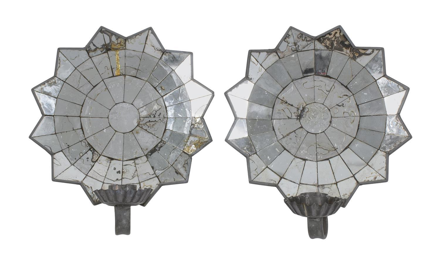 """PAIR OF TIN MIRROR-BACK WALL SCONCES Heights 11"""". Widths 9.75""""."""