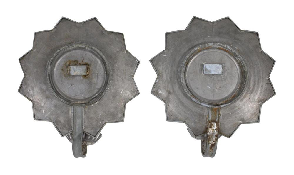 PAIR OF TIN MIRROR-BACK WALL SCONCES Heights 11