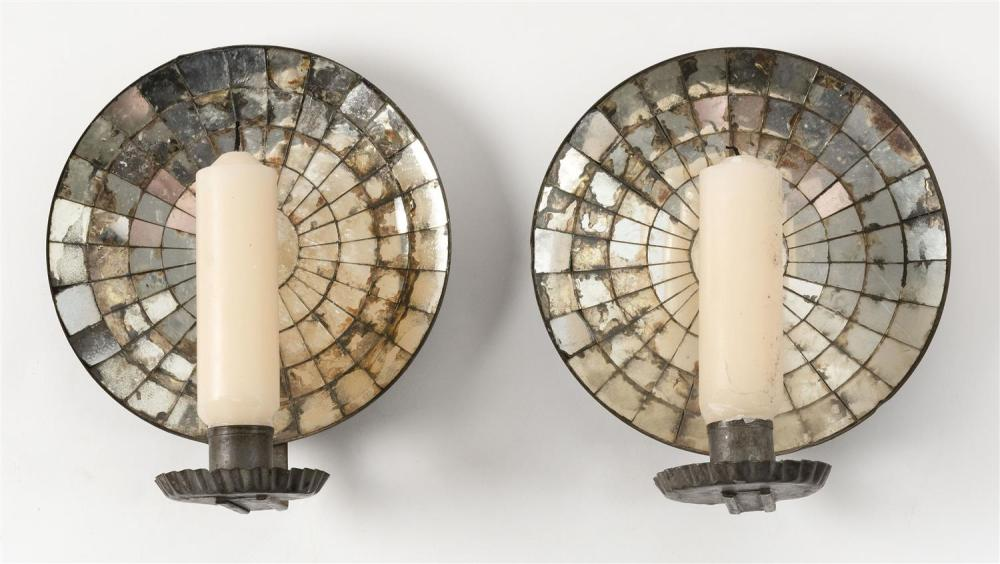 """PAIR OF TIN MIRROR-BACK WALL SCONCES Heights 8.75""""."""