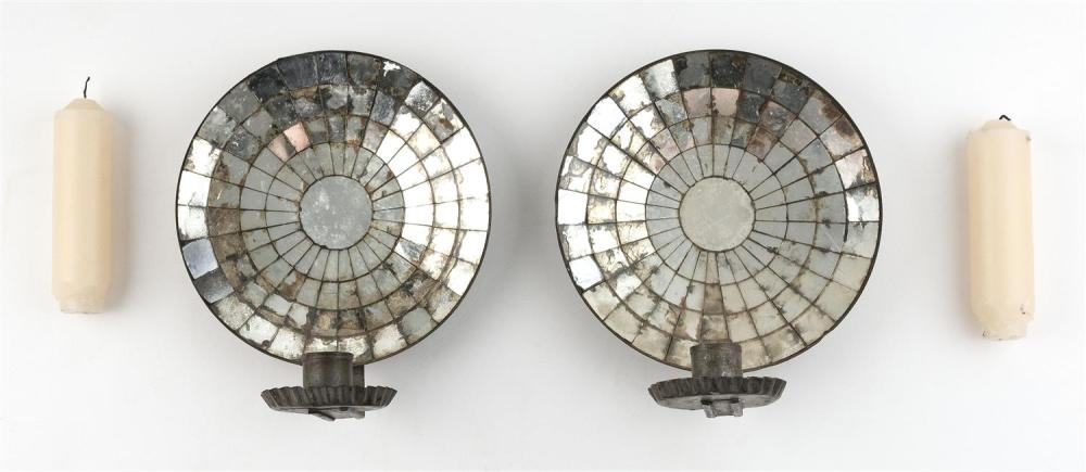 PAIR OF TIN MIRROR-BACK WALL SCONCES Heights 8.75