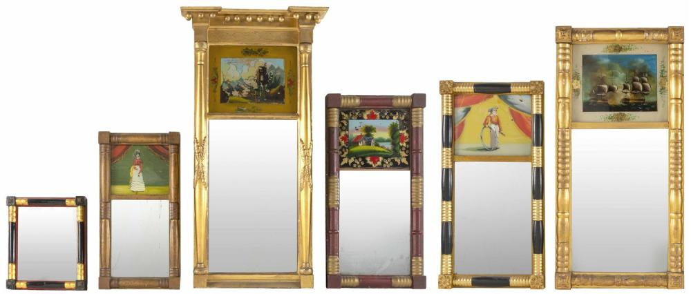 """SIX SHERATON MIRRORS From 13"""" x 11"""" to 35"""" x 19""""."""