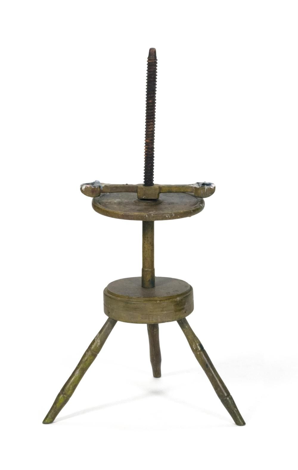"""YELLOW-PAINTED CANDLESTAND With turned splayed legs. Height 38""""."""