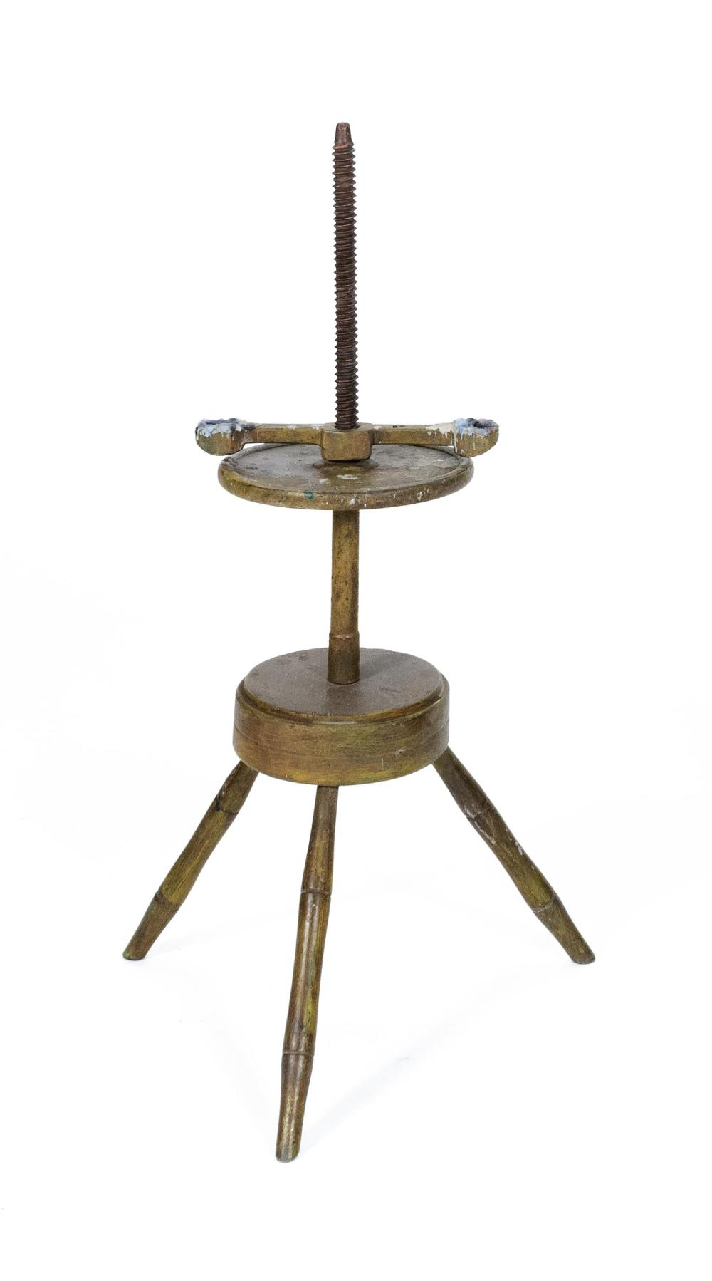 YELLOW-PAINTED CANDLESTAND With turned splayed legs. Height 38