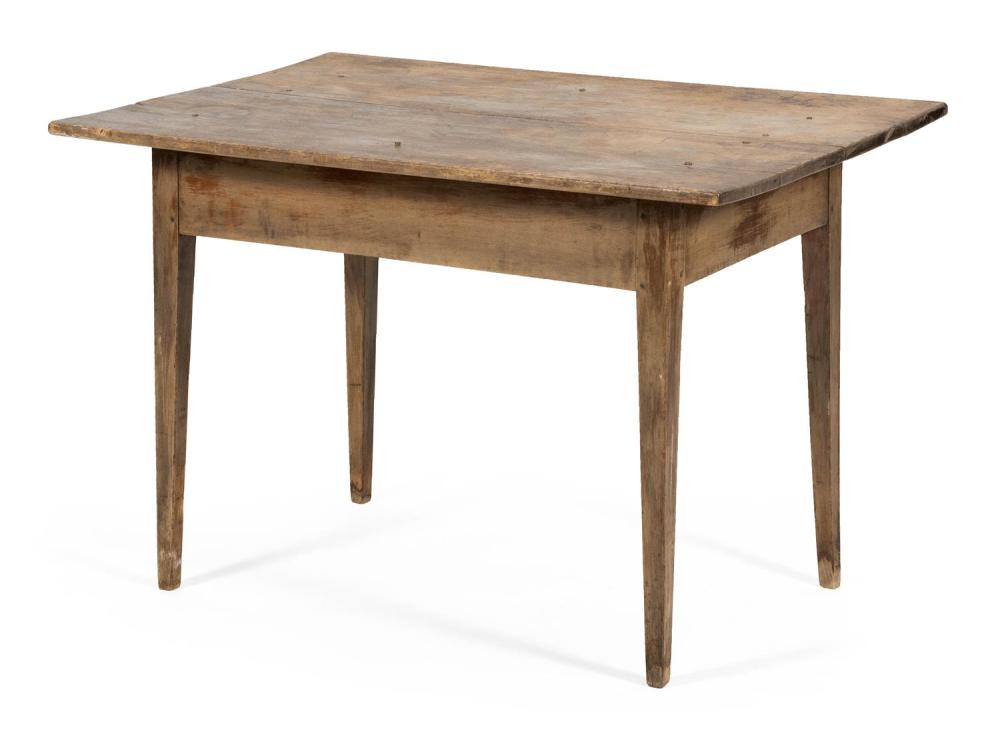 """HEPPLEWHITE TAVERN TABLE In pine, with square tapered legs. Height 27.5"""". Top 40.5"""" x 27.5""""."""