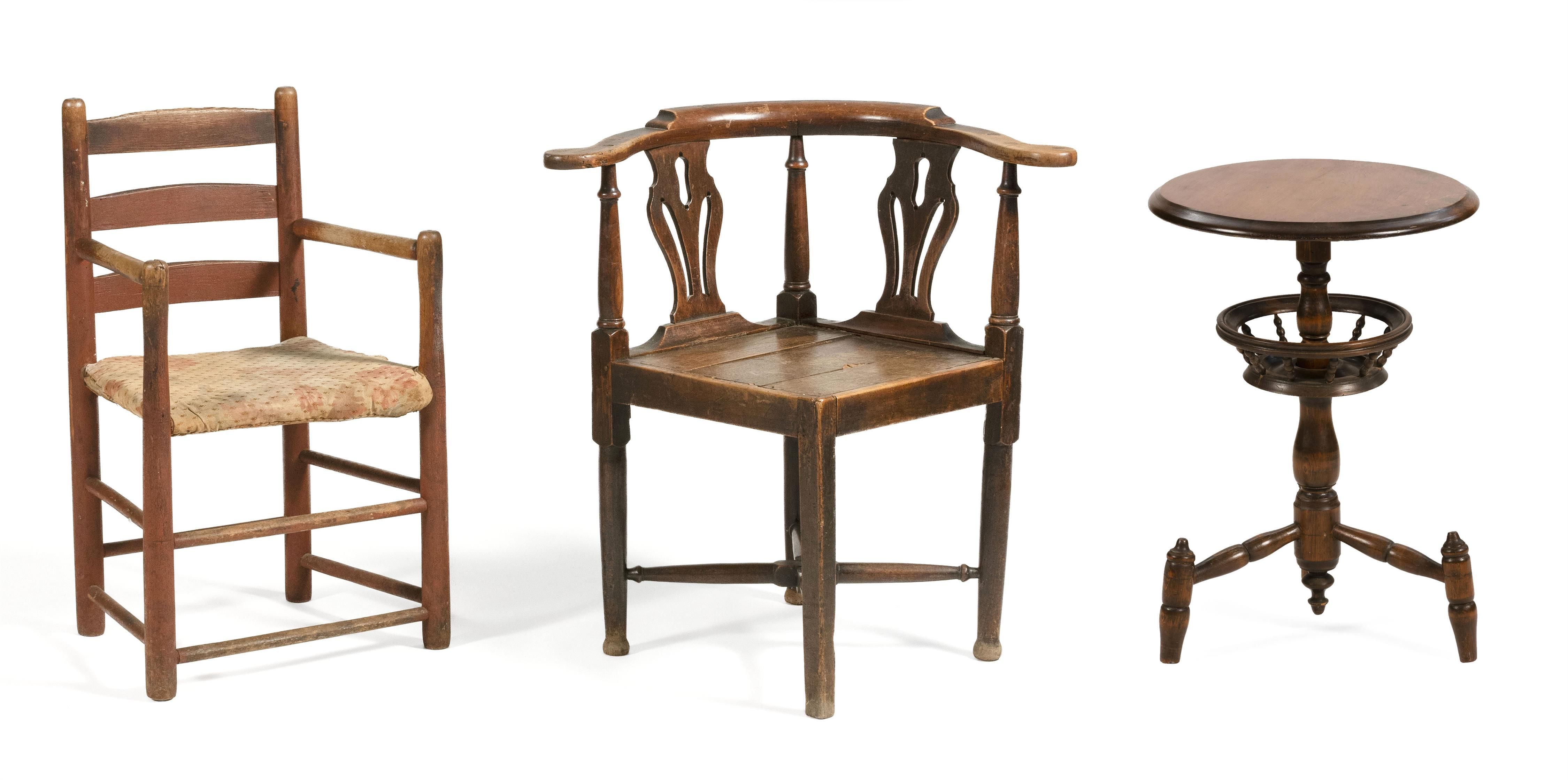 """TWO CHAIRS 1) Corner chair with pierced splats and turned stretchers. Back height 30.5"""". Seat height 17.5"""". 2) Child's ladderback ar.."""