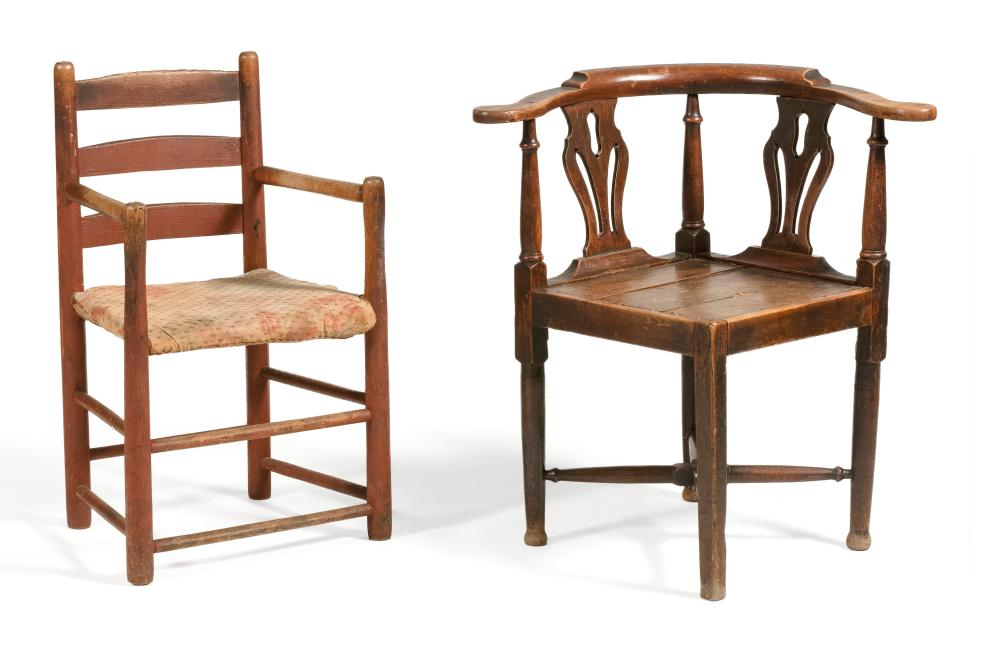 TWO CHAIRS 1) Corner chair with pierced splats and turned stretchers. Back height 30.5