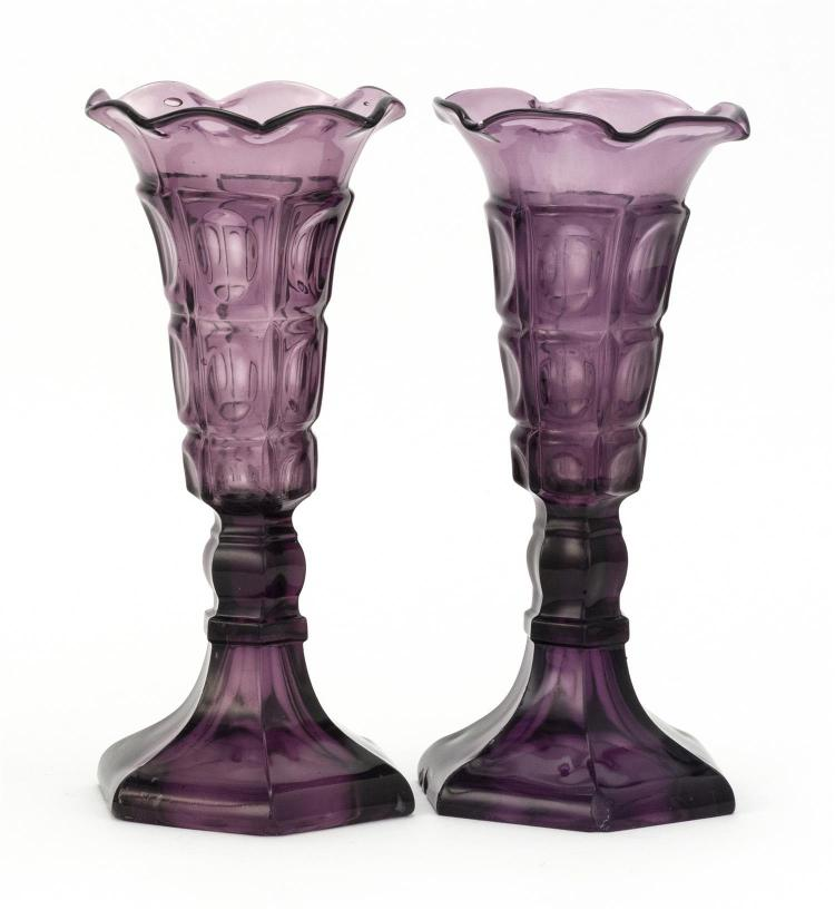 Pair Of Sandwich Glass Company Pressed Glass Vases In Three