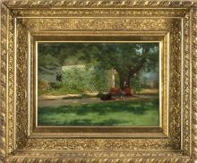 """LOUIS L. BETTS, New York/Illinois, 1873-1961, """"Young Lady With Dog in the Park""""., Oil on canvas, 12"""" x 18"""". Framed 23.5"""" x 28.5""""."""