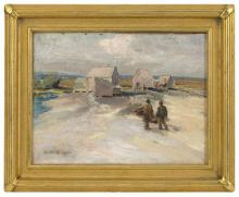 """EDWARD A. PAGE, Massachusetts, 1850-1928, Fishing shacks, North Shore., Oil on canvas, 9"""" x 12"""". Framed 13"""" x 19""""."""