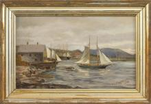 JOHN INGERSOLL COGGESHALL, Massachusetts, 1856-1927, Boats in a habor, likely the Massachusetts North Shore or Maine., Oil on canvas...