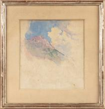 """ATTRIBUTED TO DENMAN WALDO ROSS (Massachusetts/Ohio, 1853-1935), Mountain sketch., Watercolor on paper, 8.25"""" x 8"""" sight. Framed 13.25"""" x 13""""."""
