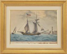 "NICHOLAS S. CAMMILLIERI, France/Italy, 1762-1860, ""Schoner Lidia of Newburi Port Entering the Port of Marseilles 10 November 1807 [s..."