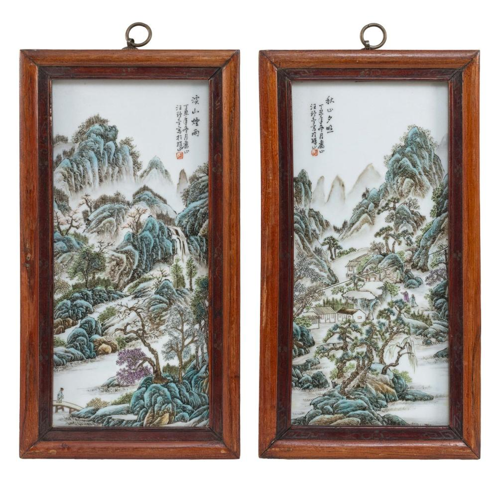 "PAIR OF CHINESE FAMILLE VERTE PAINTED TILES Depict a village in a mountain landscape. Calligraphy upper left and right. 17"" x 8"". Fr..."