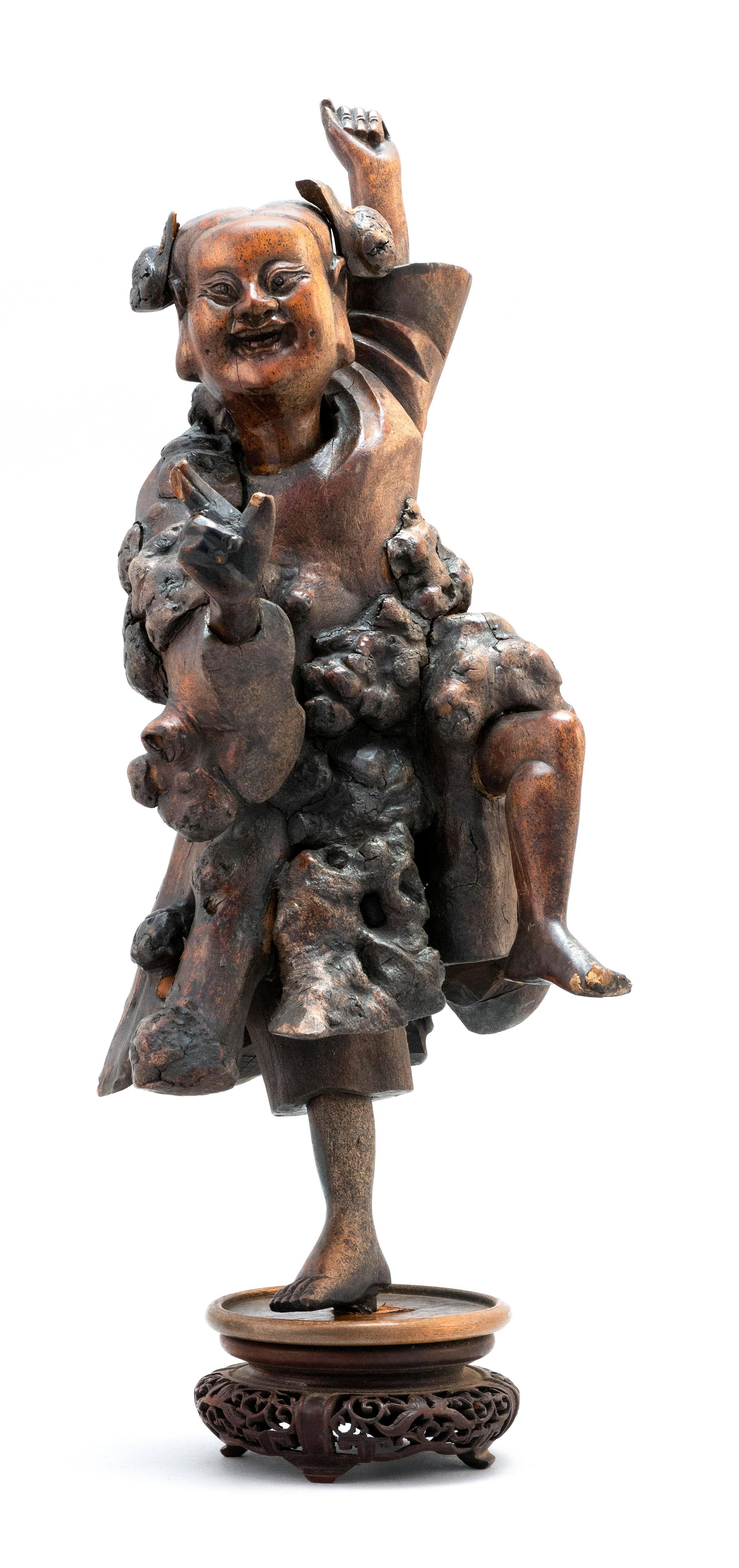 """CHINESE ROOTWOOD CARVING OF A DANCING BOY Height 14""""."""