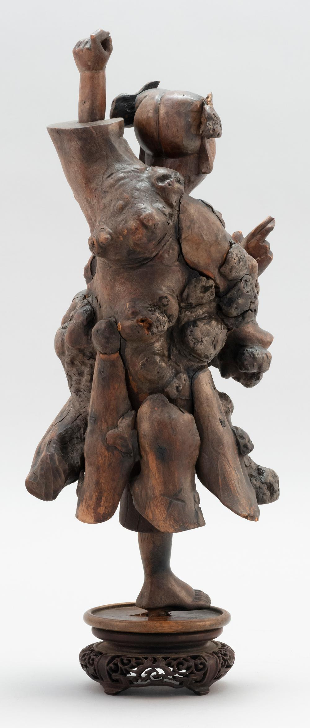 CHINESE ROOTWOOD CARVING OF A DANCING BOY Height 14