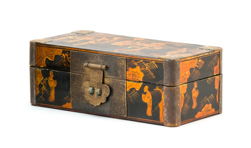 """CHINESE BLACK AND GOLD LACQUER HINGED BOX Rectangular, with figural landscape design. Length 7.75""""."""