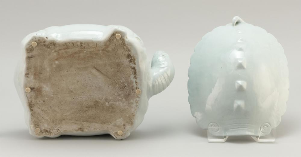KOREAN WHITEWARE COVERED VESSEL In the form of a tortoise, with the carapace serving as the cover. Length 13.25