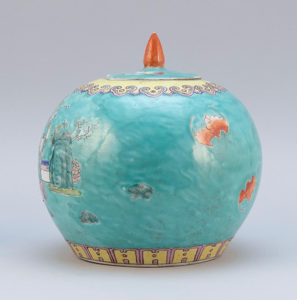 CHINESE FAMILLE ROSE PORCELAIN COVERED GINGER JAR Globular, with processional decoration on a turquoise blue ground. Worn four-chara...