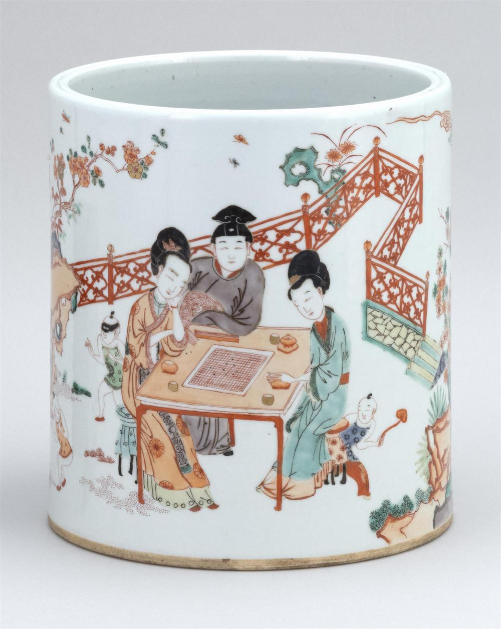 """CHINESE FAMILLE VERTE PORCELAIN BRUSH POT Cylindrical, with figural landscape decoration. Height 8.25"""". Diameter 7.5""""."""