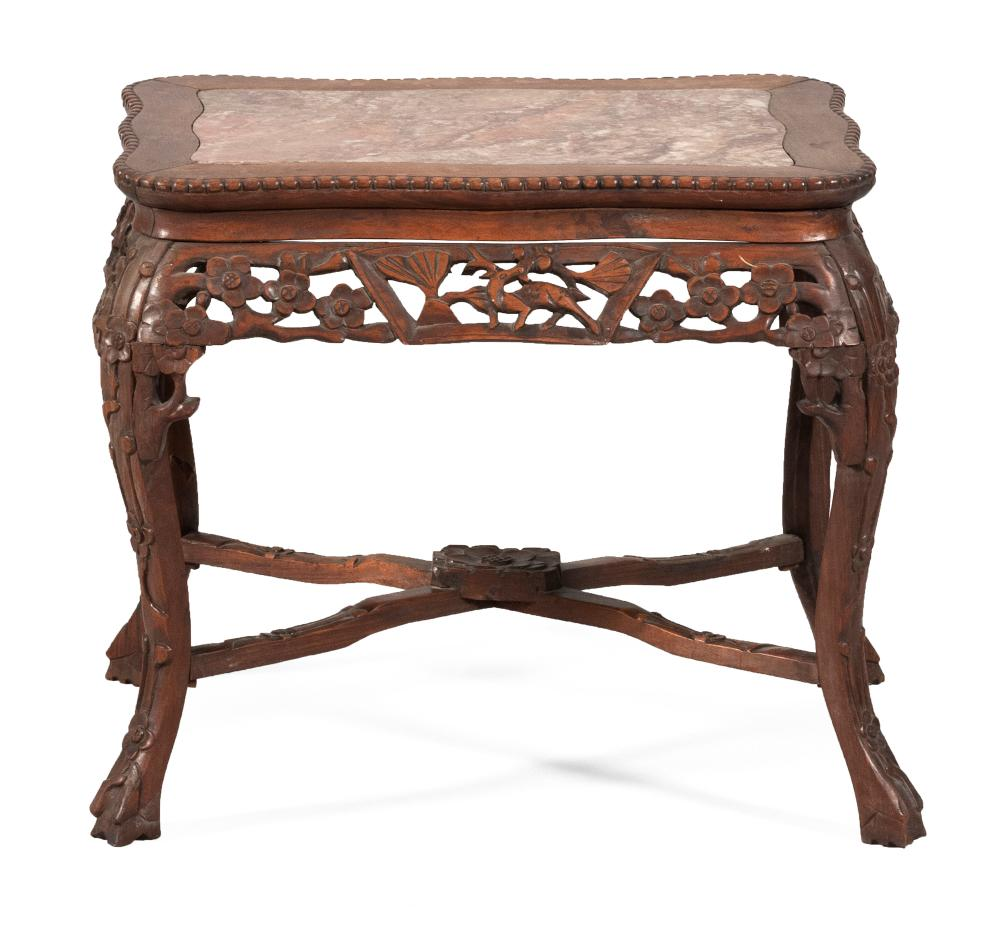 CHINESE CARVED ROSEWOOD LOW TABLE Shaped top inset with rouge marble. Apron carved with deer and flower blossoms. Curved legs joined...