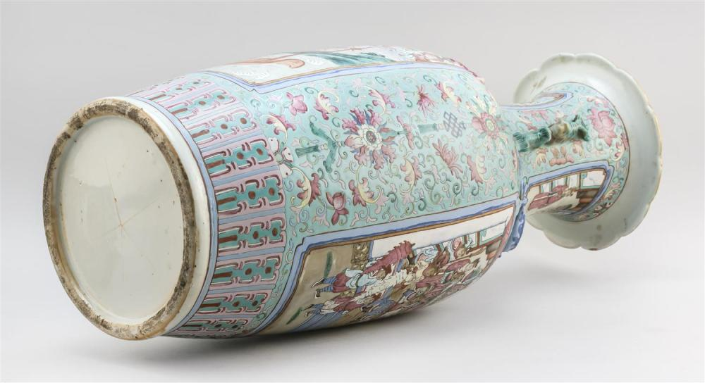 CHINESE FAMILLE ROSE PORCELAIN TEMPLE JAR Body decorated with two figural reserves on a flower-filled turquoise blue ground. Two sma...