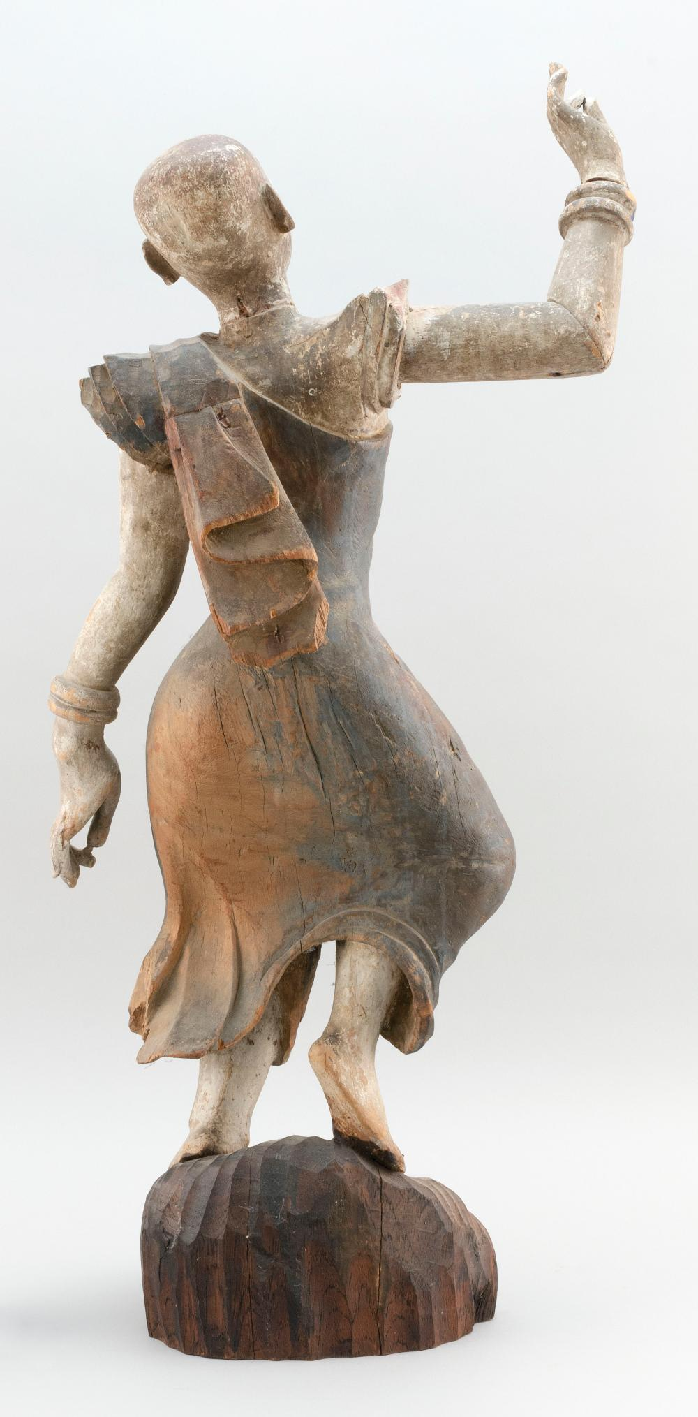 THAI POLYCHROMED CARVED WOOD FIGURE OF A DANCER Height 33