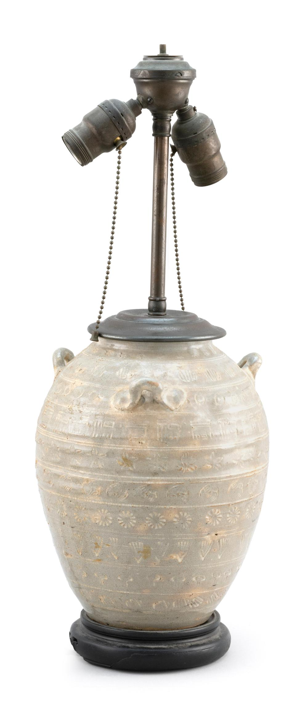 "KOREAN PUCHONG-STYLE POTTERY JAR Ovoid, with three applied handles and banded design. Height 10"". Mounted as a table lamp."