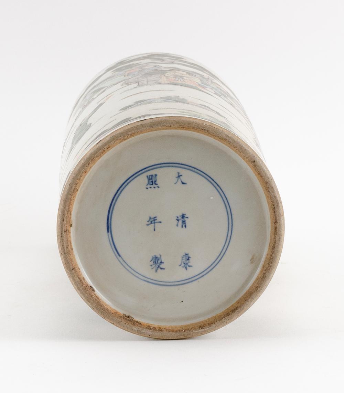 CHINESE FAMILLE VERTE PORCELAIN CYLINDRICAL VASE Figural landscape decoration. Six-character Kangxi mark on base. Height 13.5