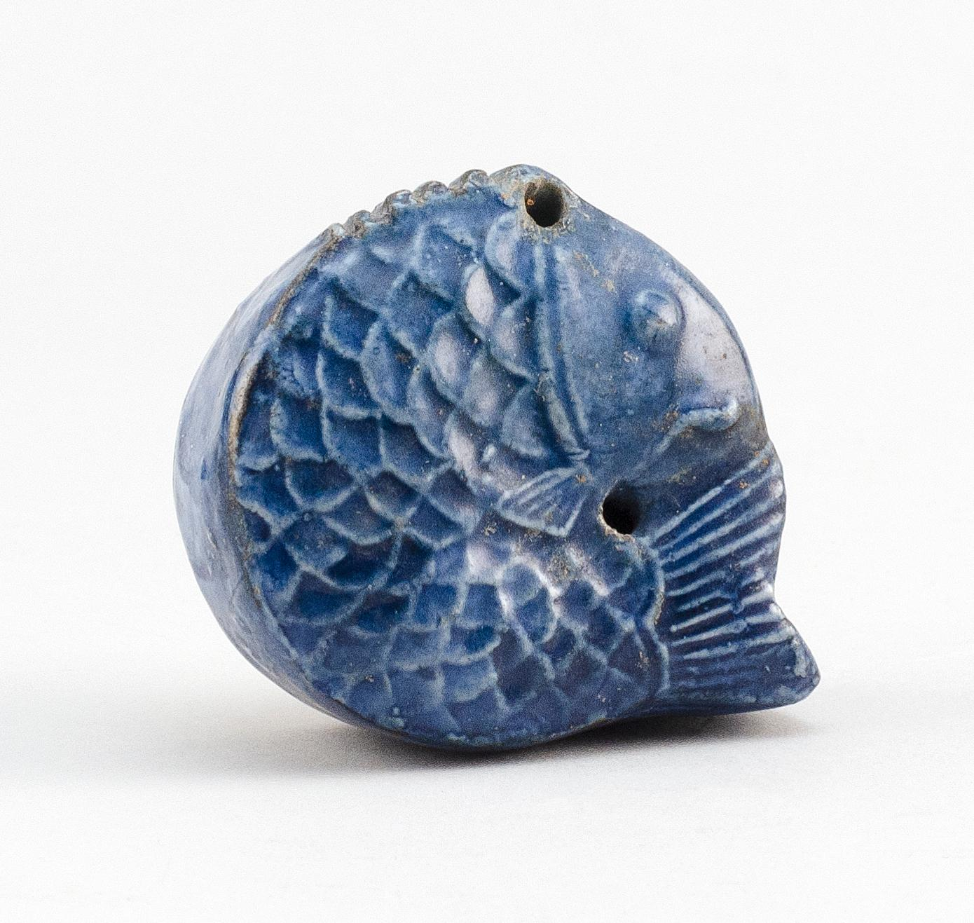 """KOREAN BLUE GLAZE PORCELAIN WATER DROPPER In the form of a fish. Length 2.4""""."""