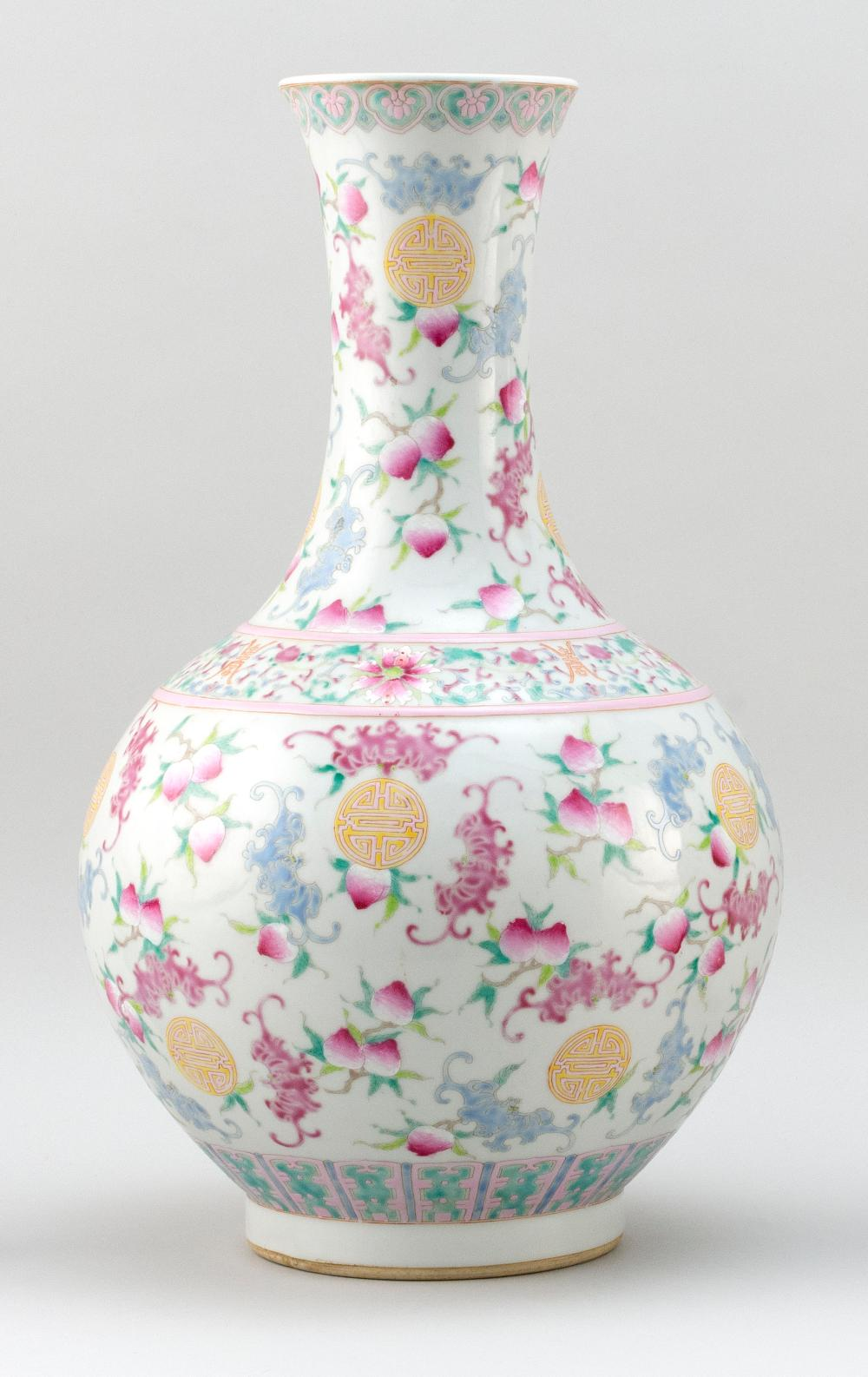 "CHINESE POLYCHROME PORCELAIN VASE In mallet form, with bat and shou design. Six-character Jiaqing mark on base. Height 17.5""."