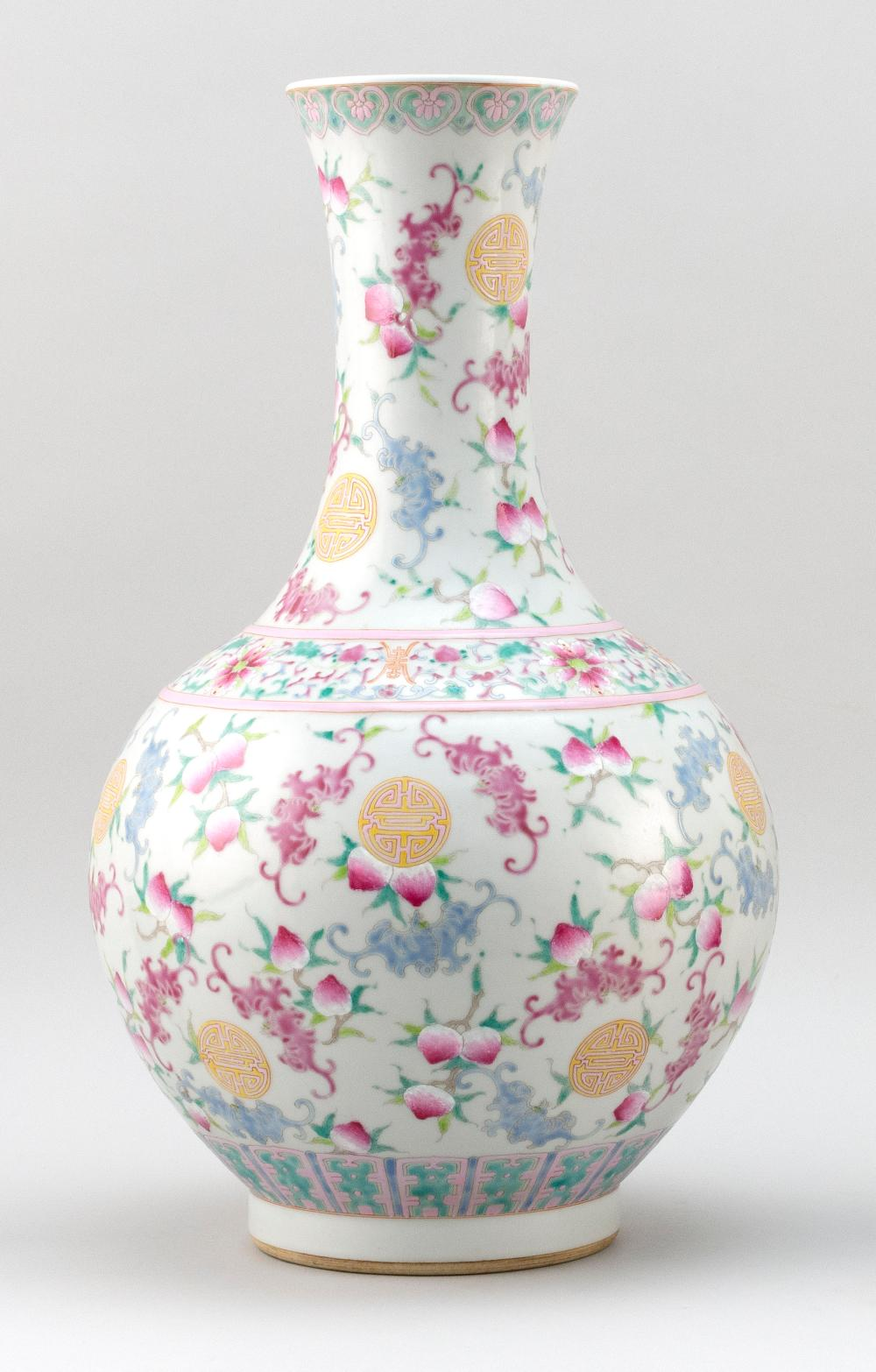 CHINESE POLYCHROME PORCELAIN VASE In mallet form, with bat and shou design. Six-character Jiaqing mark on base. Height 17.5