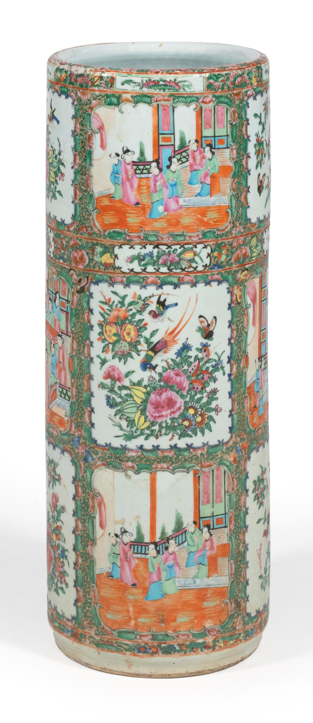 CHINESE EXPORT ROSE MEDALLION PORCELAIN UMBRELLA STAND Alternating figural, bird and floral reserves. Star crack in base. Height 24