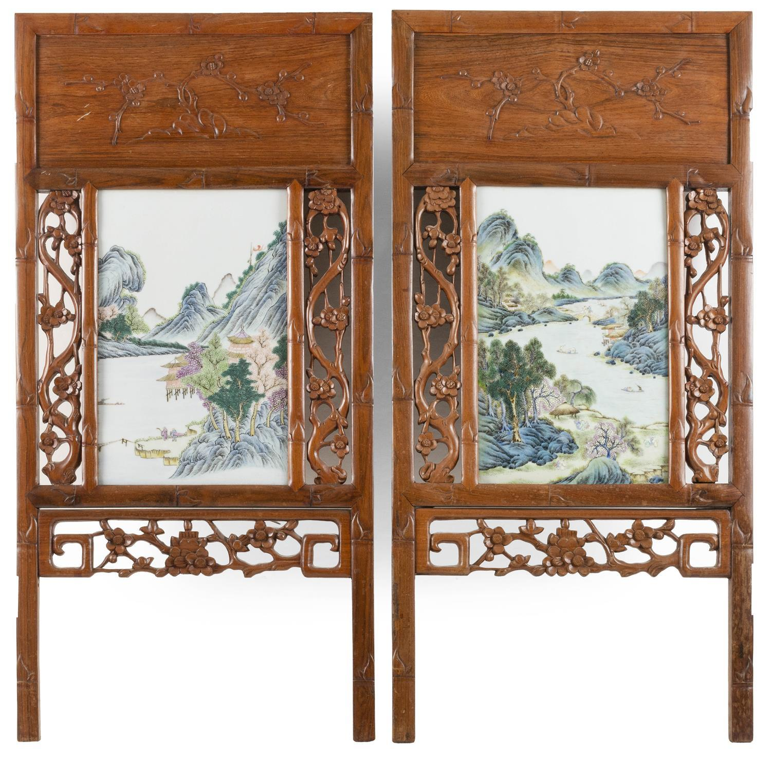 """PAIR OF FRAMED CHINESE FAMILLE VERTE PORCELAIN TILES Both with finely enameled mountain river landscapes. 14"""" x 9"""". Housed in elmwoo..."""